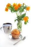globeflower muffin τσάι Στοκ Φωτογραφίες