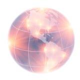 Globeon America do Norte e Ámérica do Sul iluminada perto Foto de Stock Royalty Free