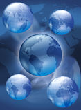 Globes. Photoshop illustration of 5 globes showing all continents Royalty Free Stock Photography