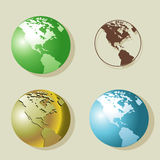 Globes. Illustration of globe in different styles and colors Royalty Free Stock Photography