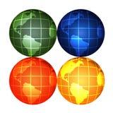 Globes. Colour globes on white background Vector Illustration