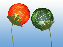 Globes. Abstract plants (globes) on blue background Royalty Free Illustration