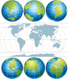 Globes. Classic Globes with World Map-vector vector illustration