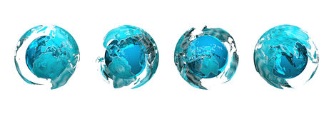 Globes. 4 illustrated globes showing different continents Stock Images