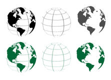 Globes. Illustration of globes on white background Stock Photography
