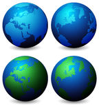 Globes. Vector Collection of Globes With World Map - on White royalty free illustration