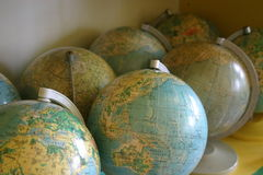 Globes. In classrom Royalty Free Stock Photo