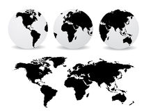 Globes with abstract world map Stock Photo
