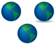 Globes - americas. Globes centered on the americas, with shadow and longitude and latitude lines Vector Illustration
