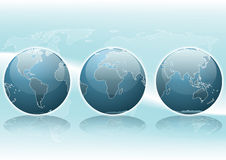 Globes and Earth map. Illustration of three views of the globe with the map of the Earth on the background Royalty Free Stock Photo
