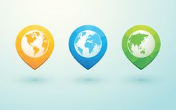 Globes and arrow pins. Color globes and arrow pins Stock Images