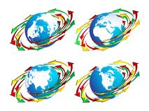 Globes and arrows. Illustration with globes and arrows Royalty Free Stock Photos