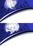 Globes and Arrows. Backgrounds with world globes, showing america and europe continents Royalty Free Stock Images