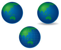 Globes - asia and australia. Globes centered on asia and australia, with shadow and longitude and latitude lines vector illustration
