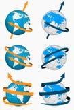 Globes avec des flèches illustration de vecteur