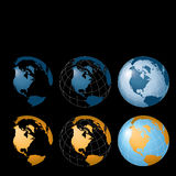 Globes Background. An illustrated set of 6 globes isolated on a black background Stock Photography