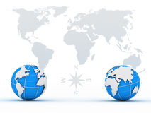 globes on background card Stock Photos