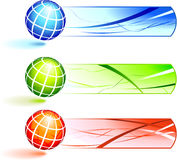 Globes with Banners vector illustration