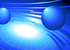 Globes on blue background Stock Photography