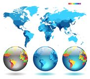 Globes on blue detailed map royalty free illustration