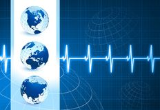 Globes on blue internet background with pulse rate Royalty Free Stock Image