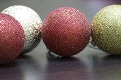 Globes and Christmas ornaments. Image Stock Photos