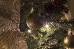 Globes and Christmas tree. Image Stock Photos