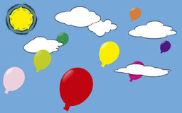 Globes of colors. Globes of colors flying in the blue sky Stock Photos