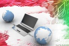 Globes connecting  to laptop via usb Illustration Stock Photo