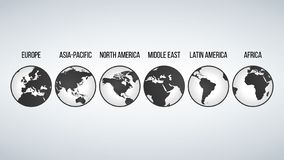 Globes with continents in different variations, vector illustration isolated on modern background. vector illustration