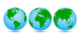 Globes with continents - vector. For stock Royalty Free Stock Photos