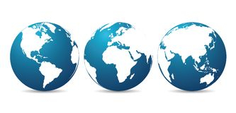 Globes with continents - vector. Globes with continents - stock vector stock illustration
