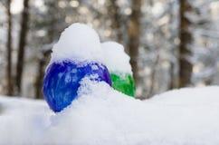 Globes de arrosage colorés couverts dans la neige fraîche un jour d'hiver Photos stock