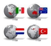 Globes de Gray Earth avec la désignation du Mexique, Australie, des Pays-Bas et de la Turquie Images stock