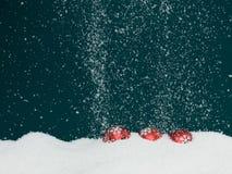 Globes de Noël couverts dans la neige Photo stock