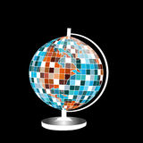 Globes of earth isolated on black and white. With disco ball texture Royalty Free Stock Images