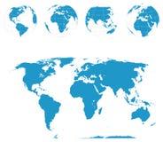 Globes et carte du monde - vecteur illustration stock