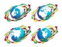 Globes et flèches Photos libres de droits
