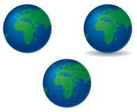 Globes - europe and africa. Globes centered on europe and africa, with shadow and longitude and latitude lines stock illustration