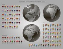 Map markers with flags Europe, Africa and Western Asia and globe Royalty Free Stock Photos