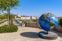 Globes exhibition in Old City of Jerusalem. Stock Images