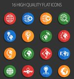 Globes 16 flat icons. Globes vector icons for web and user interface design royalty free illustration