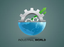 Globes and gears industrial vector. Globes and gears set industrial vector Royalty Free Stock Photography