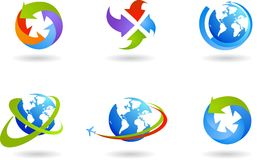 Globes and global business icon set Royalty Free Stock Photos