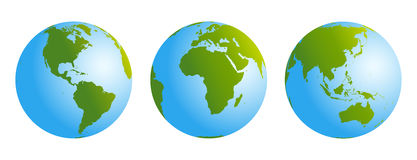 Globes Gradient Blue Green Stock Image