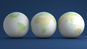 Globes with green letters Royalty Free Stock Photography