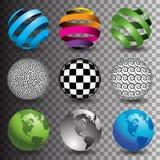 9 globes i Stock Photo