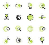 Globes icon set. Globes color vector icons for web and user interface design stock illustration