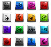 Globes icon set. Globes vector icons in square colored buttons stock illustration