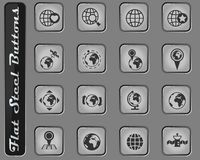 Globes icon set. Globes vector web icons on the flat steel buttons stock illustration